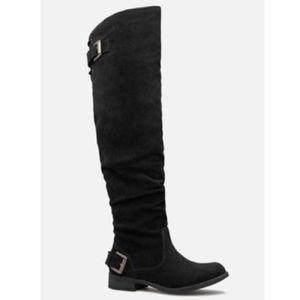 "NWT/NWB JustFab ""Angeliz"" black flat boots, Sz. 8"